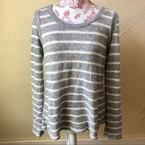 Le Lis Striped Sweater Pleated Back S Grey White